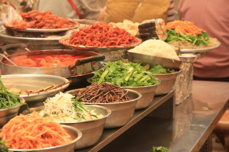 Korean Street Food inside Gwangjang Market in Seoul, South Korea
